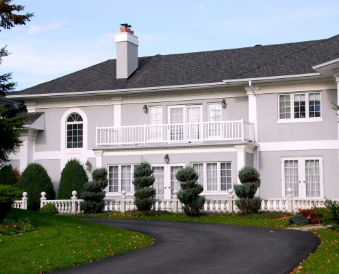 Beautiful mansion in grey and white color